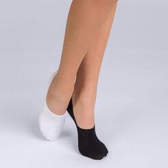 Lot de 2 protège-pieds coton noir et blanc Femme Basic Coton, , DIM