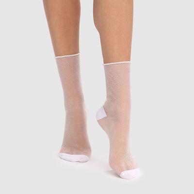 Socquette femme en lurex transparent blanc irisé Dim Style, , DIM