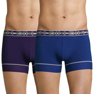 Lot de 2 boxers bleu et violet 3D Flex Stay & Fit , , DIM