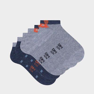 Lot de 3 paires de socquettes enfant imprimé crabe denim Coton Style, , DIM