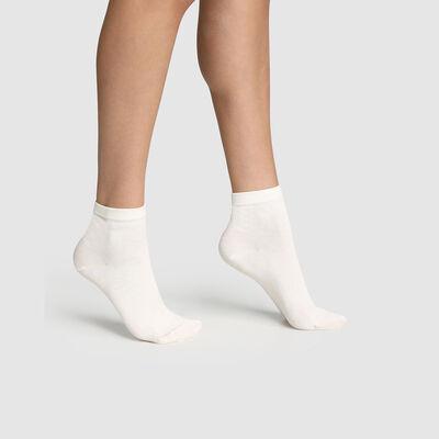 Lot de 2 paires de socquettes femme Latte Coton Mercerisé, , DIM