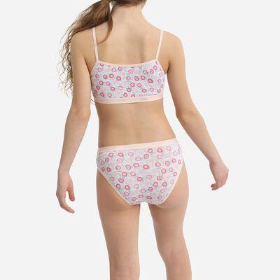 Lot de 3 slips fille coton stretch imprimés fleurs Rose Les Pockets, , DIM