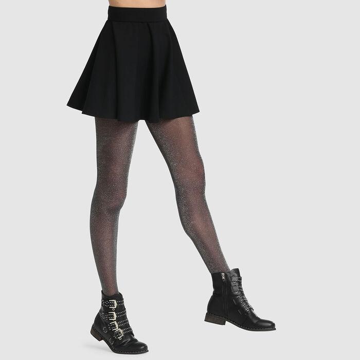 Collant fantaisie en lurex noir Dim Style 23D, , DIM