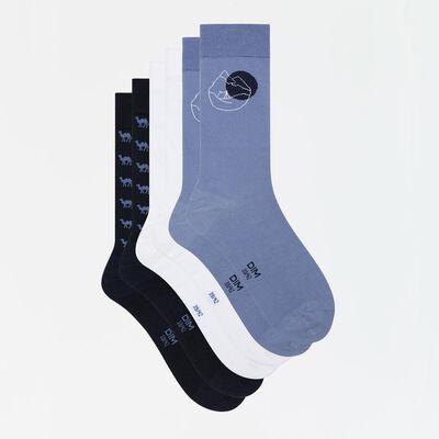 Lot de 3 paires de chaussettes hommes imprimé désert bleu Coton Style, , DIM