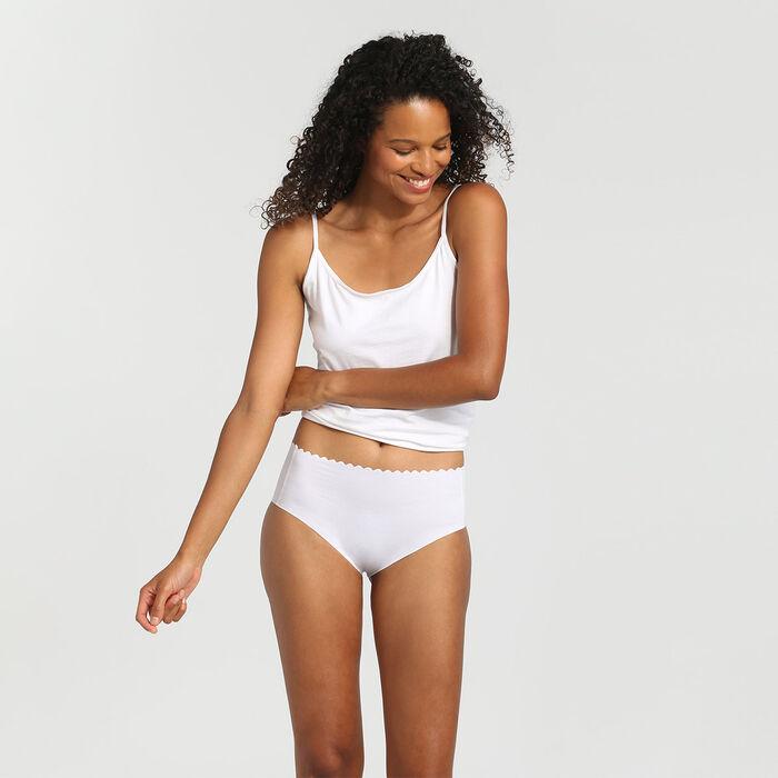 Lot de 2 culottes taille haute coton stretch new skin/blanc Body Touch, , DIM