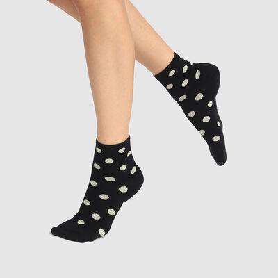 Socquette femme en coton motif pois lurex Noir Or Coton Style, , DIM