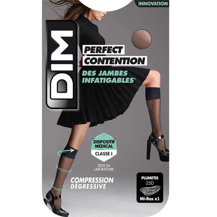 Mi-Bas Fantaisie Noir de Contention pour Femme Perfect Contention, , DIM