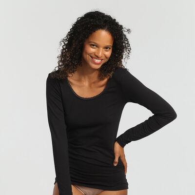 Tee-shirt manches longues femme tout confort noir Thermal de Dim, , DIM