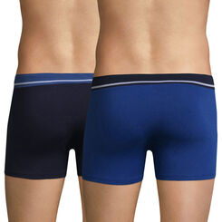 Lot de 2 boxers bleus en coton stretch Soft Touch -DIM