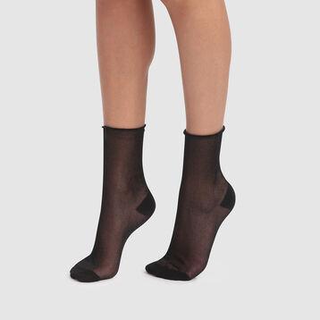 Socquette femme fantaisie en lurex noir Dim Style, , DIM