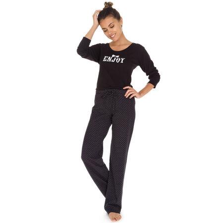 ab8ad9a8b41 Pantalon de pyjama noir plumetis 100% coton Femme