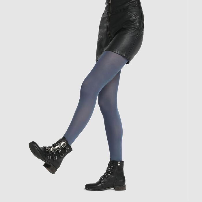 Collant opaque bleu pétrole pur Opaque Velouté Dim Style 50D, , DIM