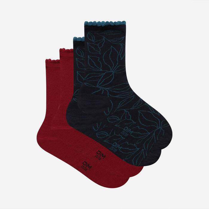 Lot de 2 paires de chaussettes femme feuilles XL Bourgogne Dim Bambou, , DIM