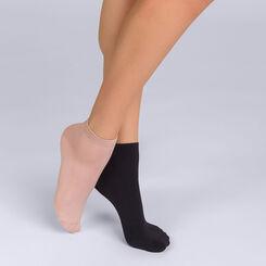 Lot de 2 socquettes courtes noires et nudes Skin Femme-DIM