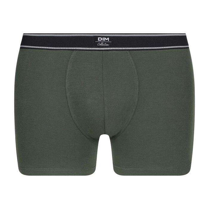 Boxer homme en coton modal côtelé au style rétro Vert Kaki Dim Elegant, , DIM