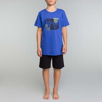29759824f3fd7 Pyjama garçon 2 pièces bleu encre et noir - Nuit Tokyo, , DIM
