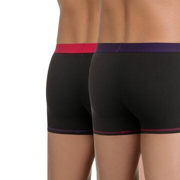 Lot de 2 boxers noirs ceinture violette et rose Mix & Colors, , DIM