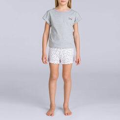 Pyjama court Gris chiné nœuds DIM GIRL-DIM