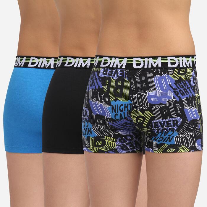 Lot de 3 boxers Noir et Marine pour garçon en coton stretch Eco Dim 3D, , DIM