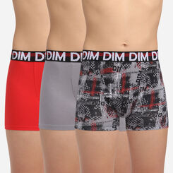 Lot de 3 boxers noir fantaisies pour garçon en coton Eco Dim 3D, , DIM