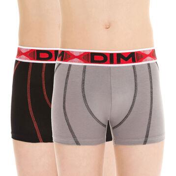 Lot de 2 boxers de sport gris foncé et orange coton DIM Boy-DIM