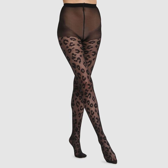 Collant résille fine imprimé léopard noir Dim Style 73D, , DIM