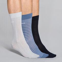 Lot de 3 paires de  chaussettes rayures & pois bleu encre et grises Homme, , DIM