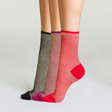 Lot 3 paires mi-chaussettes en coton pour femme à rayures effet lurex , , DIM