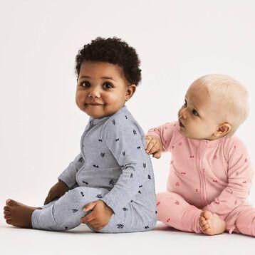 Pyjama bébé zippé bouclettes imprimé Indien gris DIM Baby, , DIM