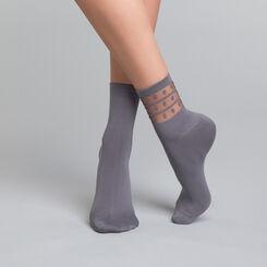 2 paires de chaussettes femme grises argentique - Dim Skin Fancy, , DIM
