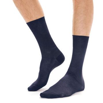 Chaussettes bleu marine en fil d'Ecosse Homme-DIM