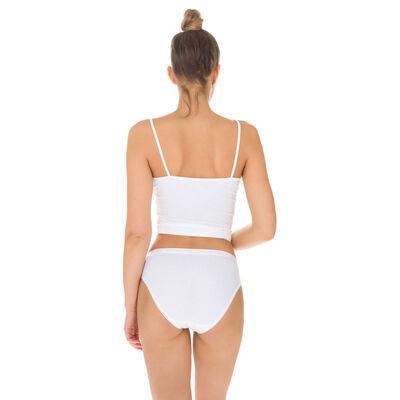 Lot de 3 slips (2+1 gratuit) blancs midi Femme Pur Coton, , DIM