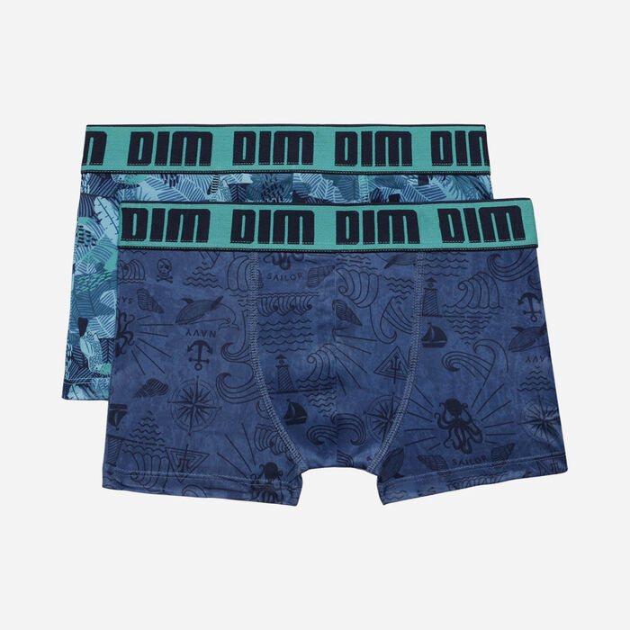 Lot de 2 Boxers garçon en microfibre à motifs maritimes Menthol Dim, , DIM
