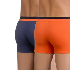 Lot de 2 boxers bleu et orange Soft Touch Pop, , DIM