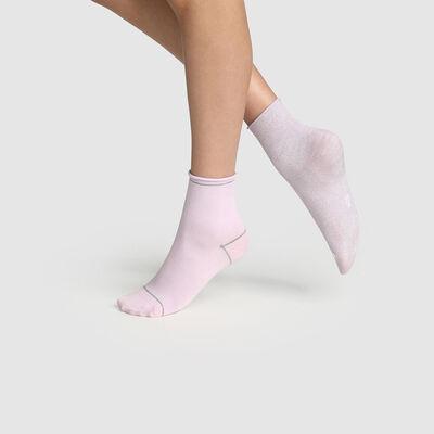 Lot de 2 paires de socquettes femmes lurex argent Lavande Coton Style, , DIM