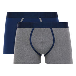 Lot de 2 boxers gris chiné et bleu marin Mix & Fancy, , DIM