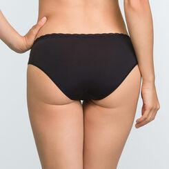 Culotte Noire femme en dentelle et microfibre Daily Glam Trendy Sexy, , DIM