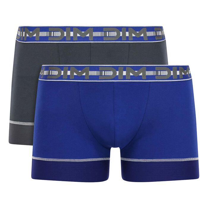 Lot de 2 boxers Bleu Azur et Gris Granit 3D Stay & Fit, , DIM