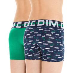 Lot de 2 boxers vert et imprimé skate DIM Boy-DIM