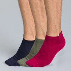Lot de 3 chaussettes bleues, kaki et bordeaux en coton Homme-DIM