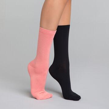 Lot de 2 mi-chaussettes femme noires et rose chiné - Skin , , DIM