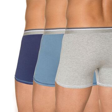 Lot de 3 boxers bleus et gris chiné 100% coton, , DIM
