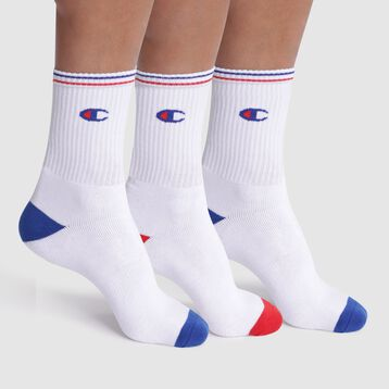 Lot de 3 chaussettes blanches côtelées logo - Champion Performance, , DIM