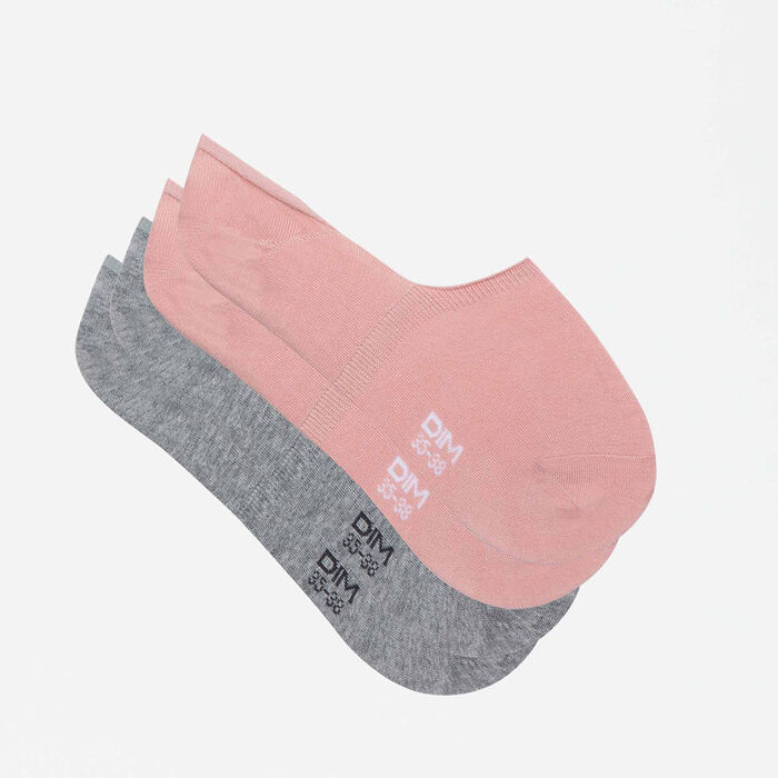 lot de 2 paires socquettes protèges pieds basket gris rose Basic Coton, , DIM