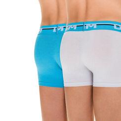 Lot de 2 boxers gris clair et bleu Soft Touch DIM Boy-DIM
