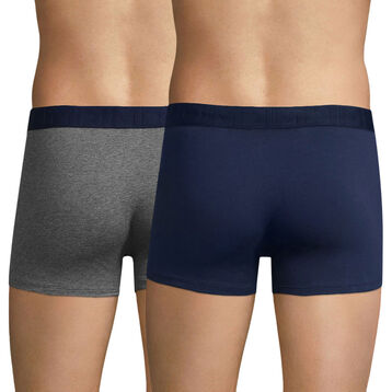 Lot de 2 boxers gris chiné et bleu marin Mix & Fancy-DIM