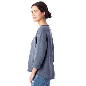 Sweatshirt bleu marine manches trois quarts Femme-DIM