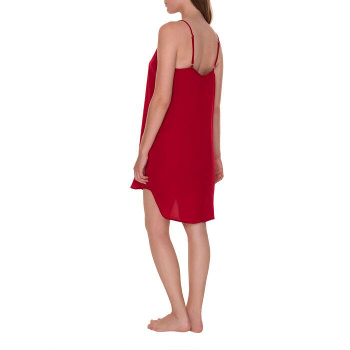 Chemise de nuit soyeuse à fines bretelles rouge coquelicot-DIM
