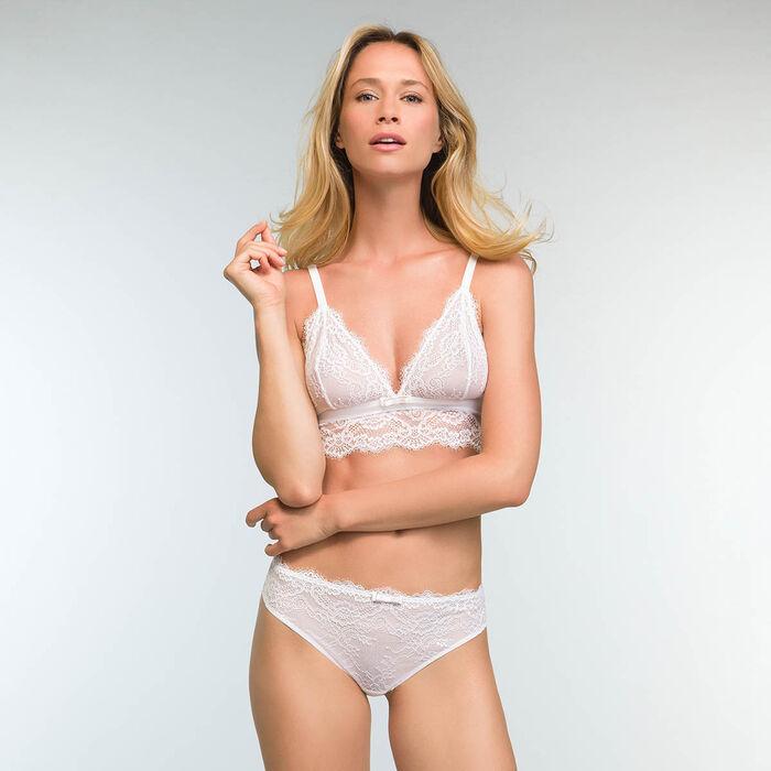 Culotte en dentelle blanche et microfibre pour femme Refined Lace, , DIM