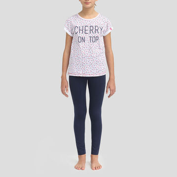 Pyjama mi-long en coton pour fille t-shirt et legging Matelot, , DIM